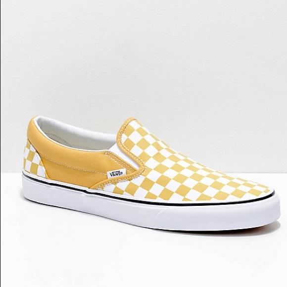 Unworn Checker Yellow Vans   Poshmark
